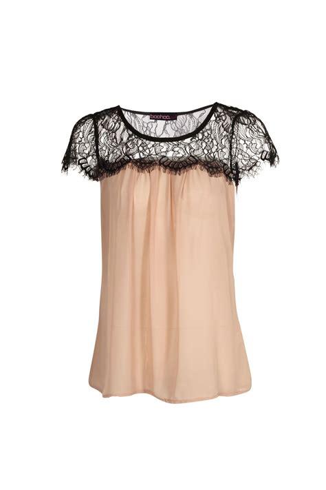 Lace Trim Chiffon Blouse lydia lace trim chiffon blouse blusas para damas