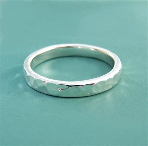 sterling silver hammered wedding ring in recycled