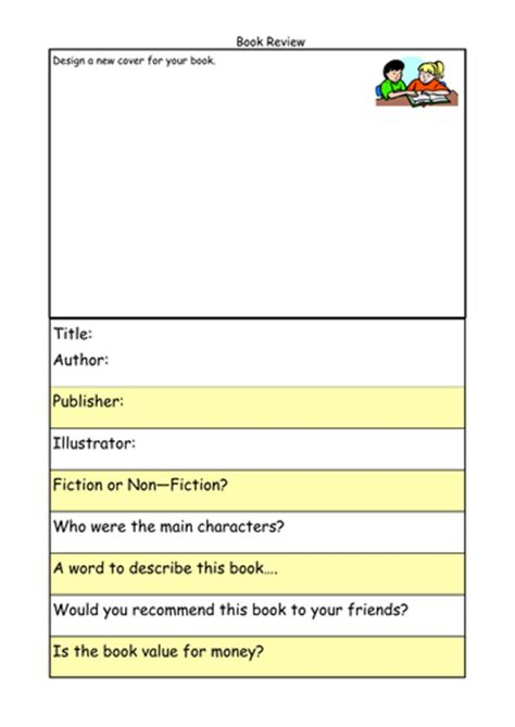 book template ks1 writing a book review by lbrowne teaching resources tes
