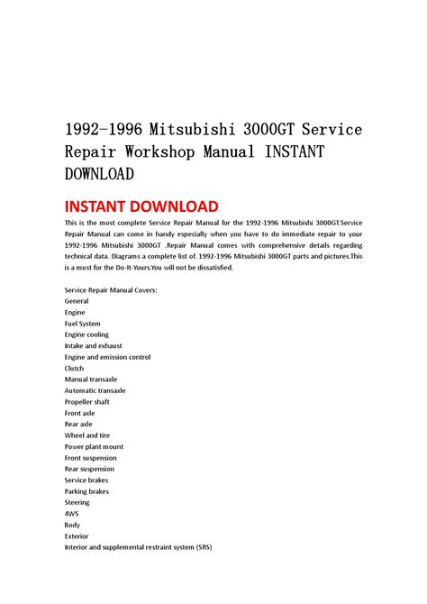1996 mitsubishi 3000gt service manual free download 1992 1996 mitsubishi 3000gt service repair workshop manual instant download by hgsbefn issuu