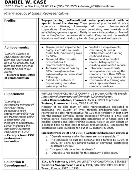 resume sles for it company sle resume for pharmaceutical sales manager sle