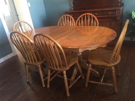 oval oak dining table and chairs solid oak oval dining table and 6 chairs summerside pei