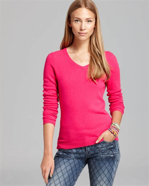 bloomingdales cashmere  neck sweater  pink bright pink lyst