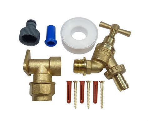 20mm mdpe outside tap kit brass wall plate and garden
