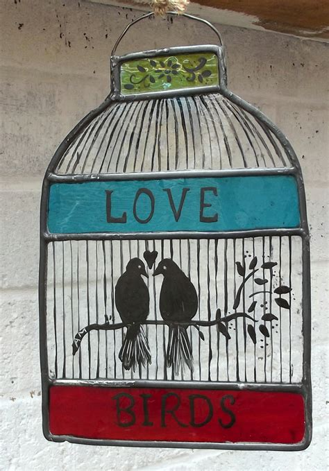 stained glass hand painted bird cage  love folksy