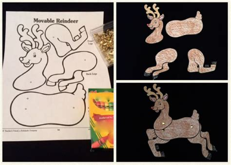 free printable movable reindeer create a movable reindeer using this four piece pattern