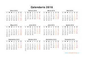 Calendario De Semanas 2016 Calendario 2016 Para Imprimir Gratis