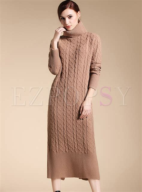 dresses knitted dresses brief high neck sleeve