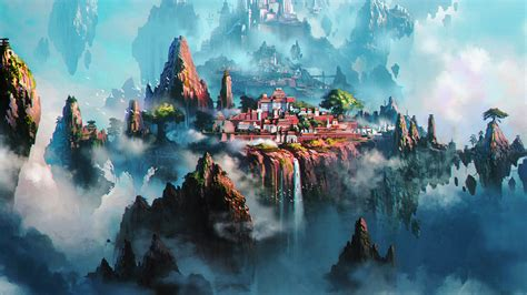 av cloud town fantasy anime liang xing illustration art