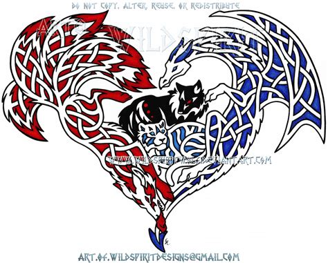 protective knotwork animals heart design by wildspiritwolf