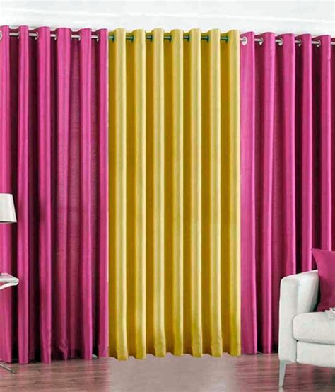 pink and yellow curtains geo nature pink and yellow polyester eyelet door curtain