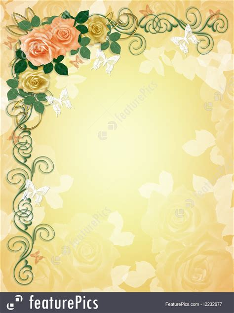 Wedding Invitations With Yellow Border by Illustration Of Wedding Invitation Roses Border