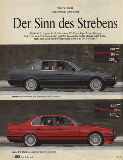 opel bmw mercedes 500e vs opel lotus omega vs bmw m5 vs alpina b10