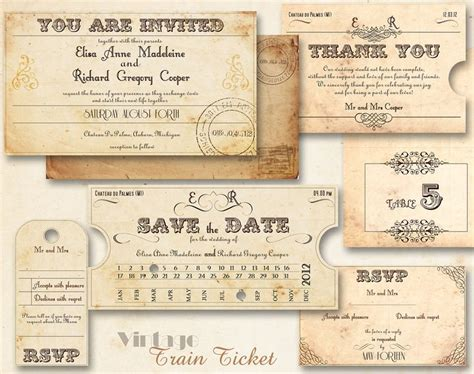 train ticket wedding invitations retro art nouveau