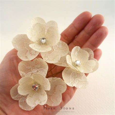 wedding hair flowers pins swarovski bridal hair flower lace wedding hair flower
