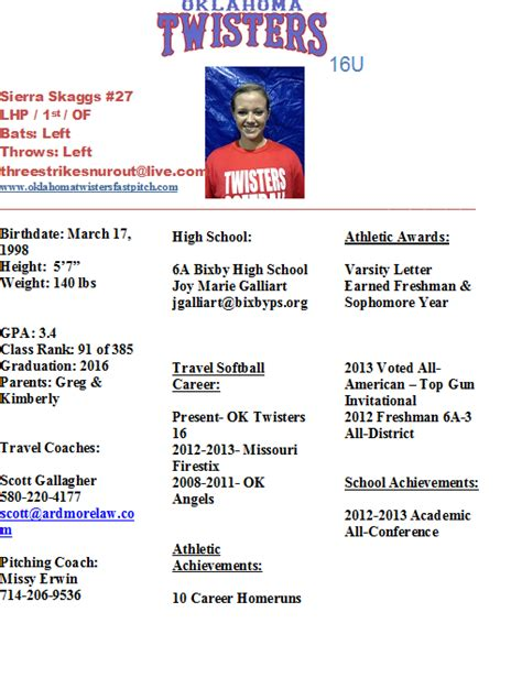 Softball Player Profile Template Images Template Design Ideas Softball Player Resume Template