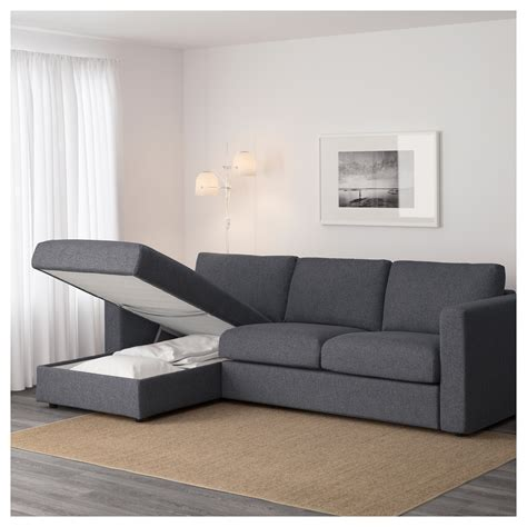 grey sofa with chaise vimle 3 seat sofa with chaise longue gunnared medium grey