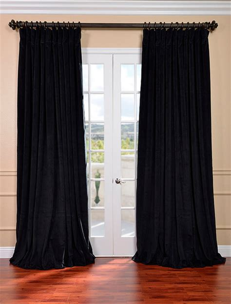 double wide curtain signature black double wide velvet blackout pole pocket
