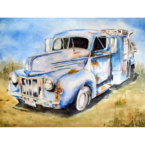 truck painting 1946 ford truck painting in watercolor by artist morano