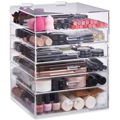 acrylic makeup storage beautify large 6 tier clear acrylic cosmetic makeup storage cube organi ebay