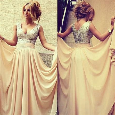 elegant long evening dresses 2016 v neck sequined **** chiffon prom gowns   Products   27DRESS.COM