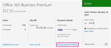 Office 365 Billing Manage Licenses And Billing In The Office 365 Admin Center