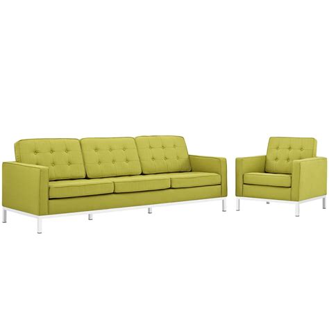 sofa armchair set loft modern 2pc upholstered button tufted sofa armchair