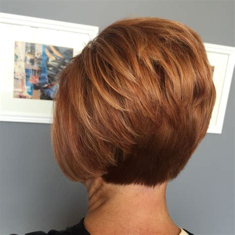 short high bob short red stacked bob pinteres