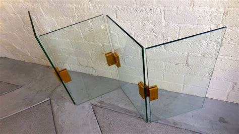Tempered Glass Fireplace Screen by Pace Style Tempered Glass Folding Screen With Solid Brass Hinges At 1stdibs
