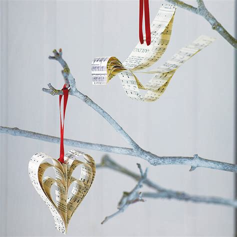 handmade sheet music christmas decoration by re made