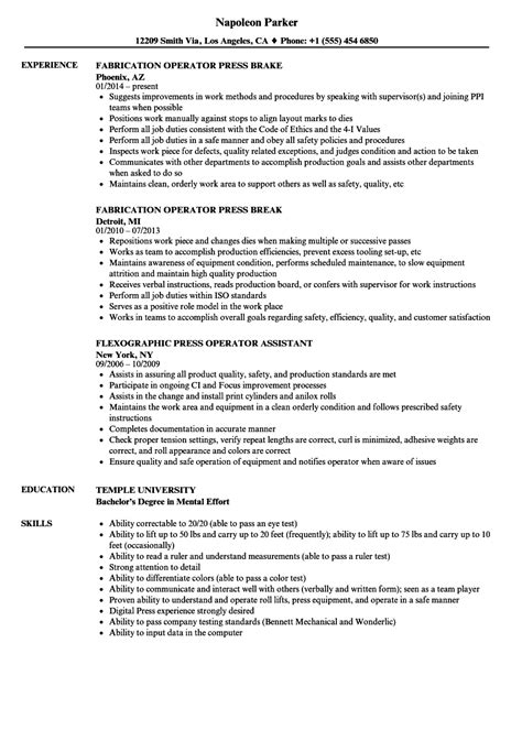 punch press operator resume resume ideas