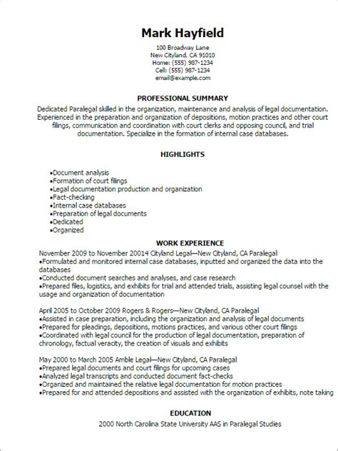 Paralegal Resume Template by 1 Paralegal Resume Templates Try Them Now Myperfectresume