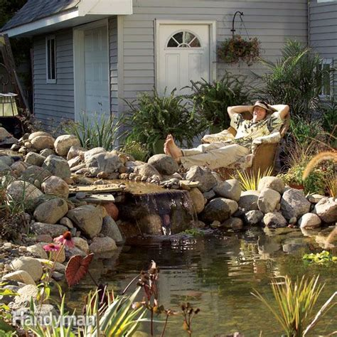 how to create a backyard pond how to build a pond and waterfall in the backyard family handyman