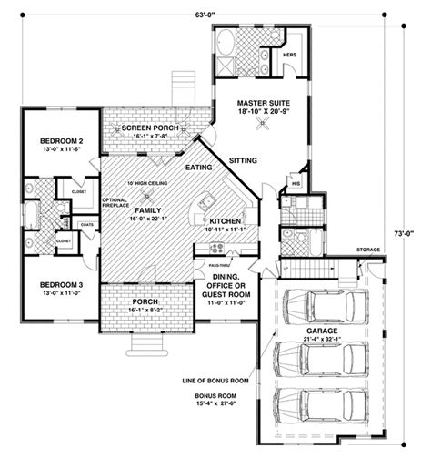 open plan 3 bedroom with bonus room house plans