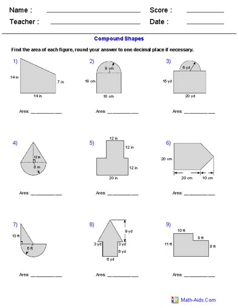 Area Compound Shapes Worksheet Answers geometry worksheets area and perimeter worksheets