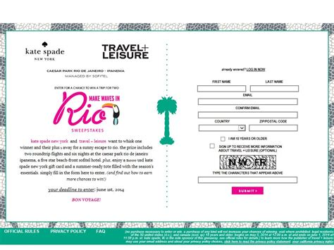 Travel And Leisure Sweepstakes - travel leisure make waves in rio sweepstakes