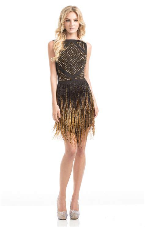 johnathan kayne  short  fitted dress  fringe