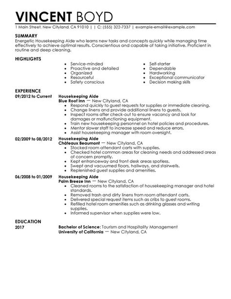 Exle Resume Of Housekeeping In Hotel Housekeeping Aide Resume Sle My Resume