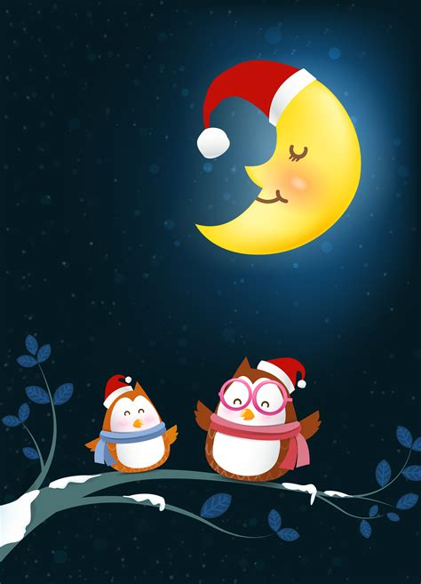 owl cartoon smile  tree branch twig  falling snow   winter night backgroud vector