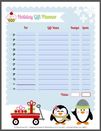 Holiday Labels Set With Penguins By Anythingbutperfect Com Worldlabel Blog Gift Organizer Template