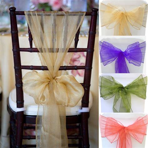 Wedding Chair Bows by 100pcs 28 Colors Organza Chair Sashes Bow Cover Wedding