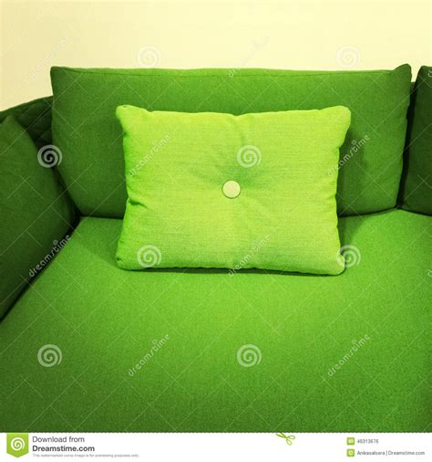bright green sofa with cushion stock photo image 46313676