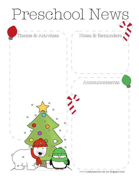 The Crafty Teacher Christmas Preschool Newsletter Template Preschool Newsletter Template