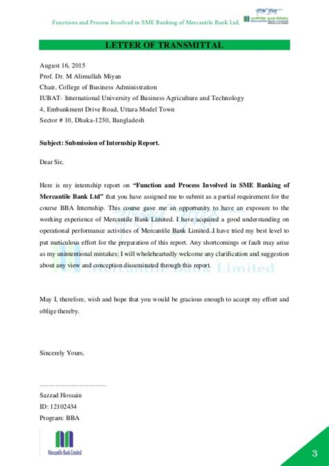 Internship Report Letter Of Transmittal Internship Report On Functions And Process Of Sme Banking Of Mercanti