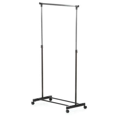 rolling garment rack honey can do adjustable steel rolling garment rack in chrome black gar 01122 the home depot