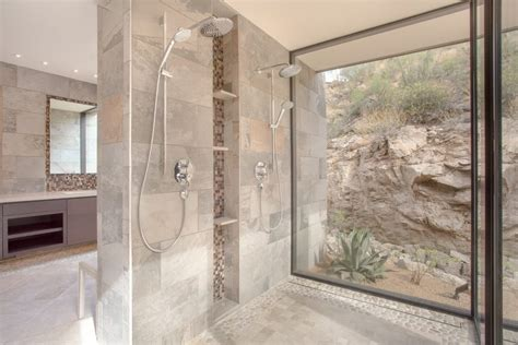 dishy river stone tile interesting ideas with glass wall