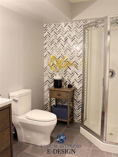 timeless bathroom m design build m design build herringbone or chevron gray marble accent tile in small
