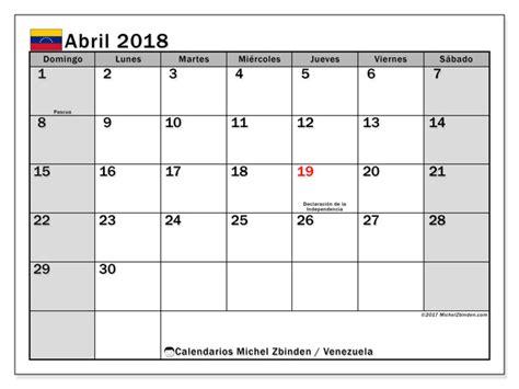 Calendario Abril 2018 Calendario Para Imprimir Abril 2018 D 237 As Feriados En