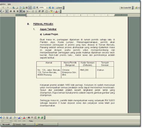 contoh kertas kerja rancangan perniagaan makanan pdf skybug