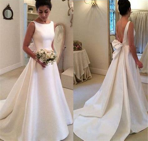 high neck simple backless   satin wedding dress  ribbon vestidos de noiva
